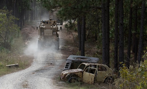 2nd SFAB convoy training with MRAPs at FBNC. Photo by Spc. Andrew McNeil, 22nd Mobile Public Affairs Detachment, U.S. Army, October 24, 2018.