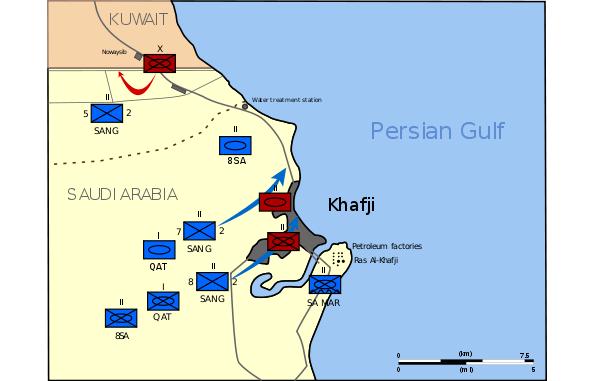 Map Battle of Khafji, Saudi Arabia, January 1991