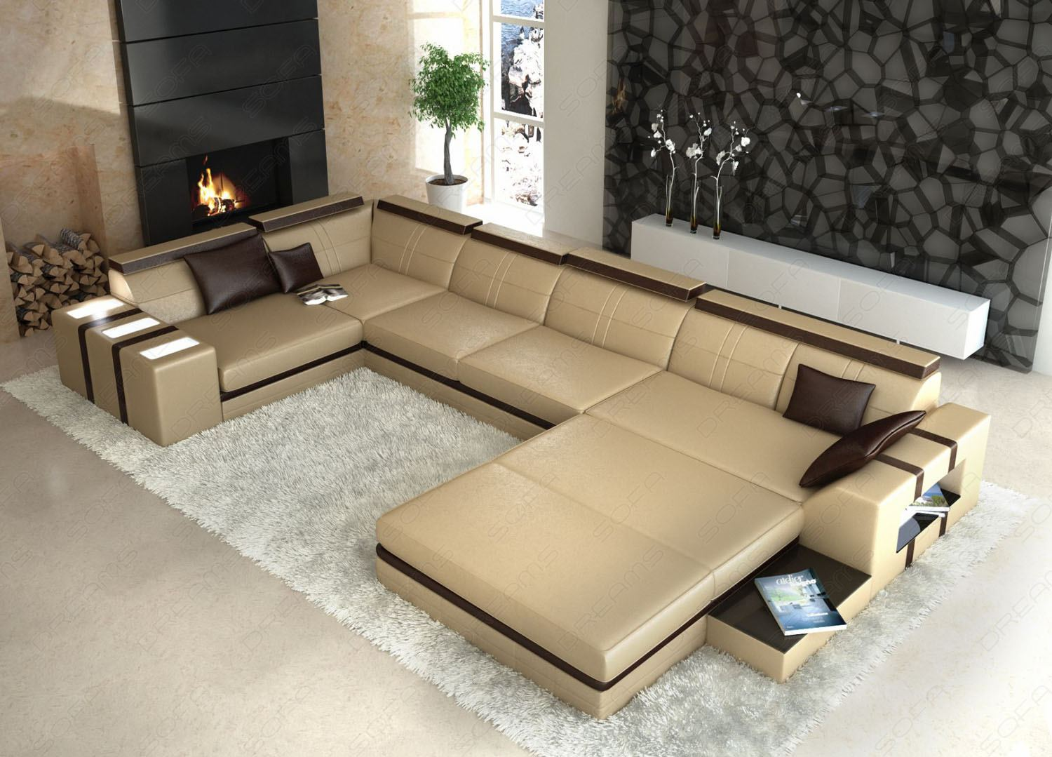 Couch U Form Beige
