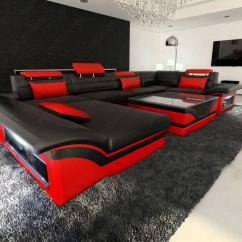 Black And Red Corner Sofa Throw Covers Asda Leather Enzo U Shaped Couch Set With Led Light