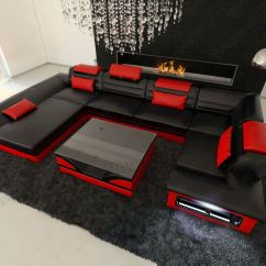 Black And Red Corner Sofa Wrought Iron Table Legs Leather Big Enzo U Shaped Couch Set With Led