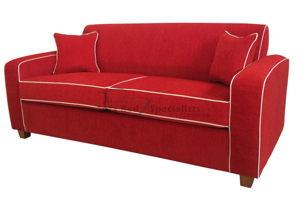 au sofa bed decoration living room retro sofabed specialists red contrast piping innerspring