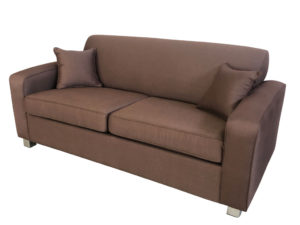 sofa bed with innerspring mattress classic design retro double sofabed special specialists now 1650 was 1 895 2 5 seater style in antique chocolate fabric same coloured piping commercial mechanism and a 15cm