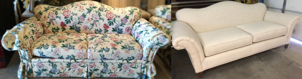 Before and After Rolled Arm Sofa
