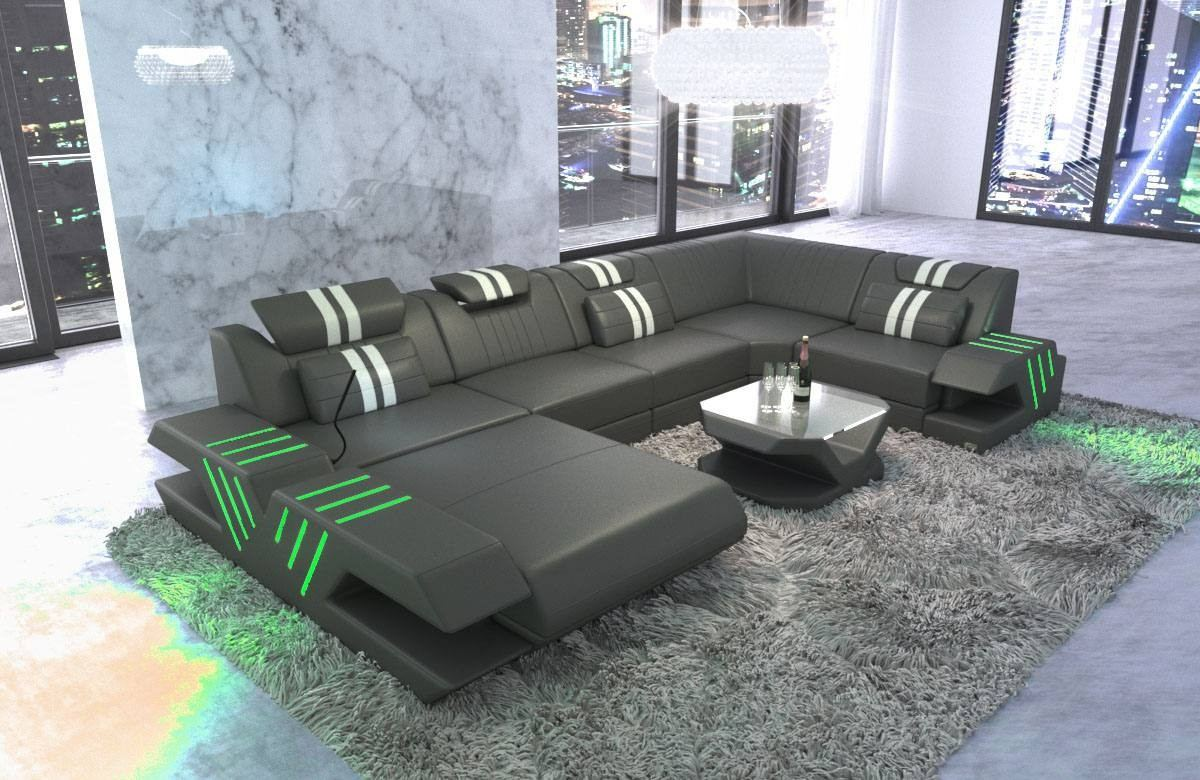Sofa Grau Ottomane Design Leather Sofa Beverly Hills U Shape