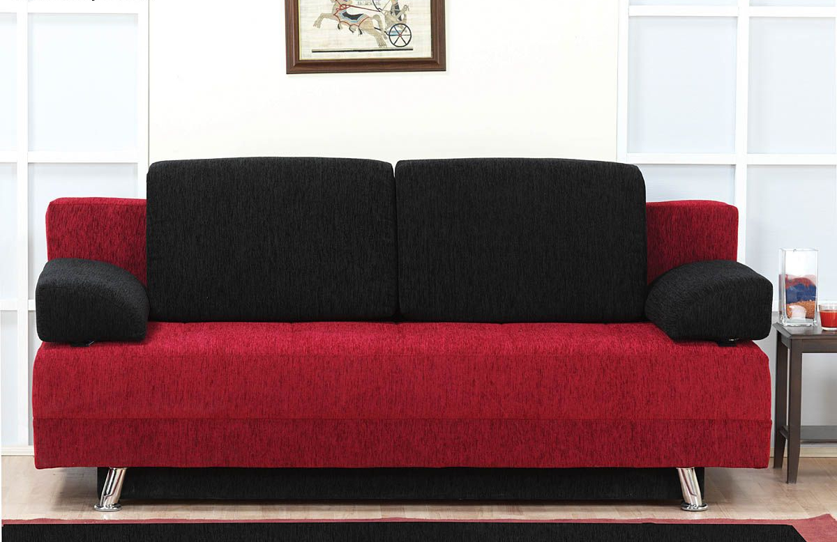 black and red sofa bed dunham west elm review sofas couch covers ideas
