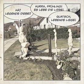 Nonsense-Comic mit drei winterverpackten Sträuchern