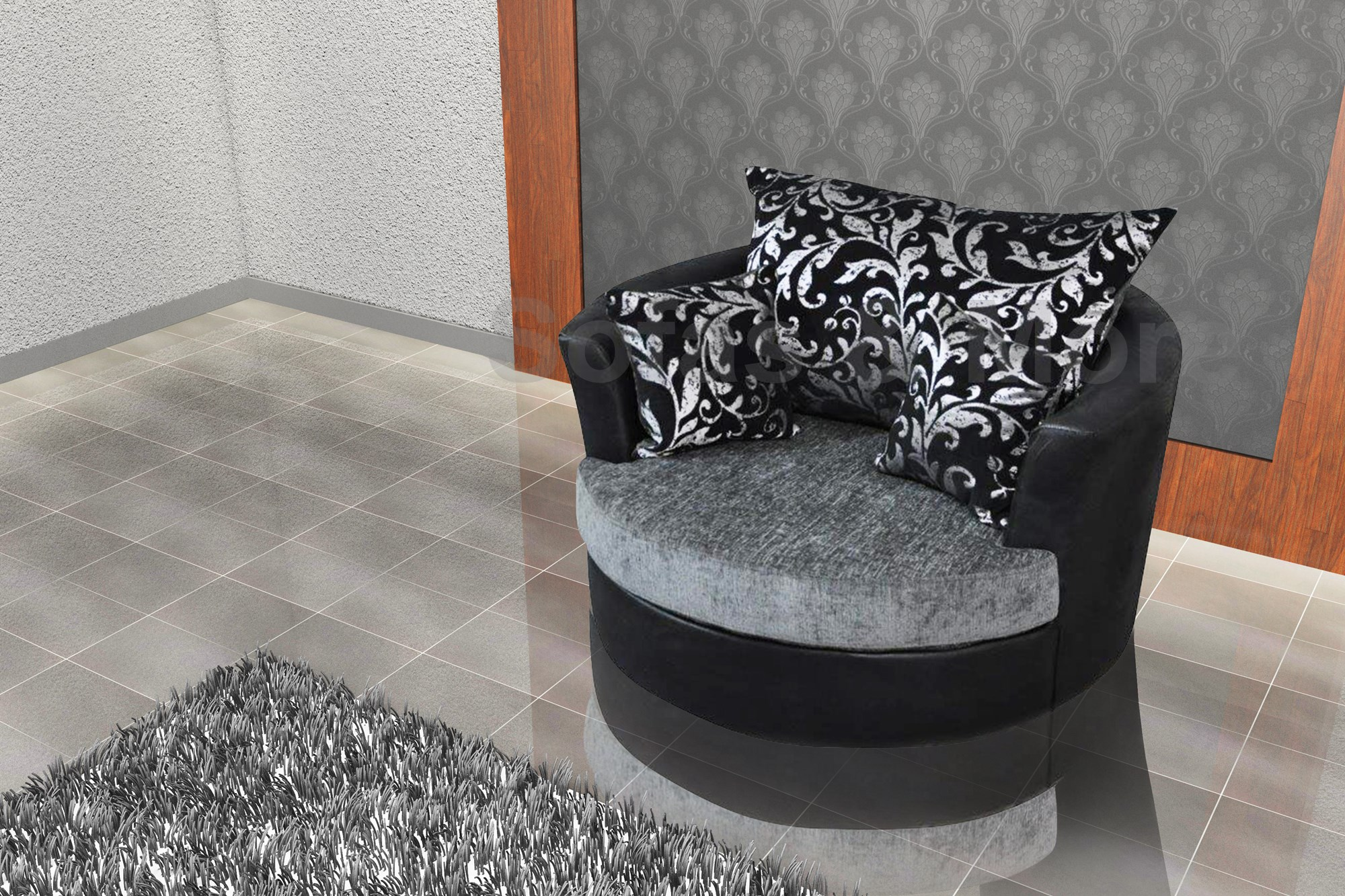round swivel cuddle chair wedding covers for large chenille fabric grey black