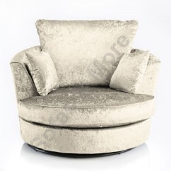 Round Swivel Cuddle Chair Portable Stadium Chairs Large Crushed Velvet Fabric Cream Silver New Black Fast Delivery