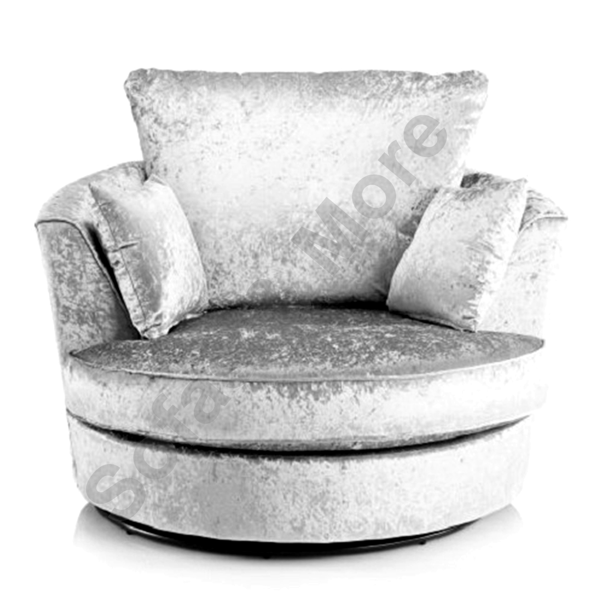 round swivel cuddle chair with long seat large crushed velvet fabric