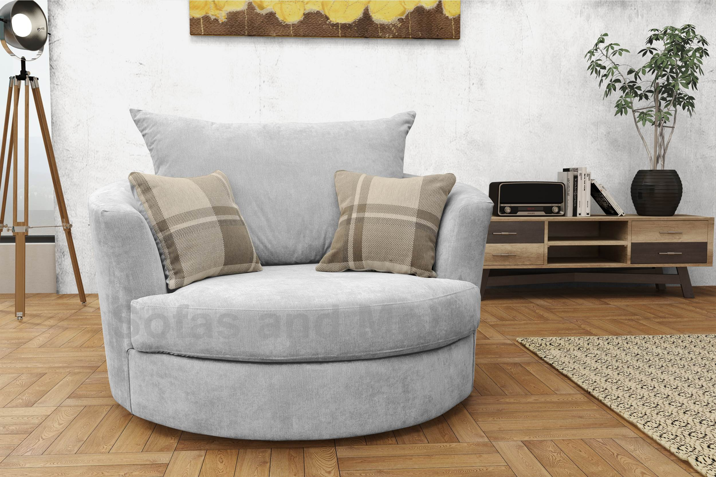 Large Swivel Round Cuddle Chair Fabric Grey Cream Brown