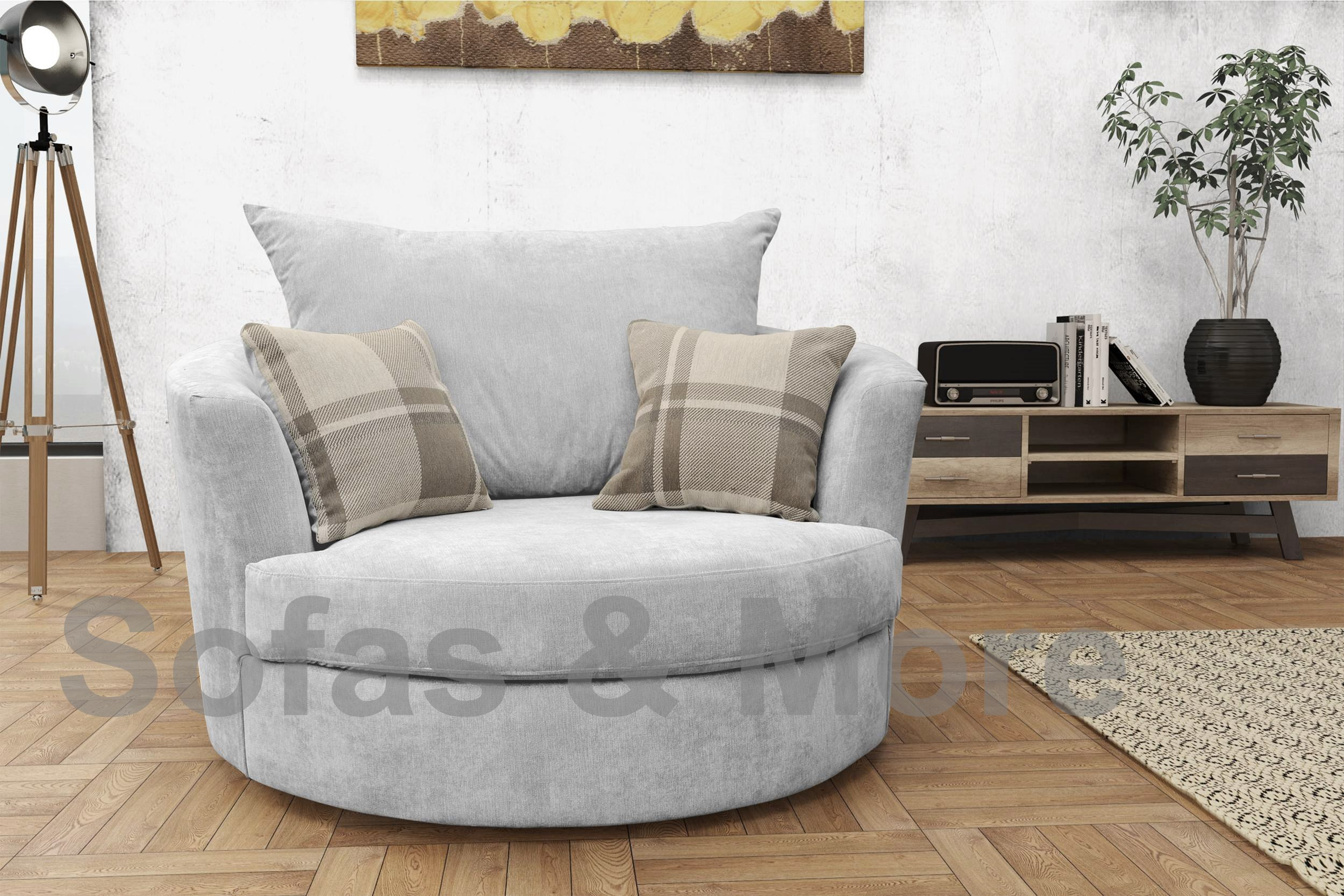round swivel cuddle chair baby sitting for eating big corner sofa suite verona fabric, 3+2 seater, armchair- light grey | ebay