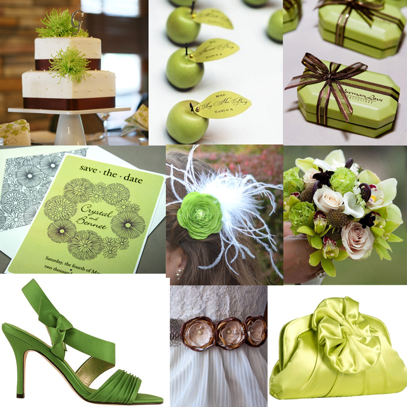 Apple Green and Brown Inspiration  sofia invitations blog