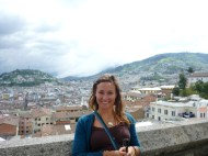 Me from the basilica with the town of Quito behind.