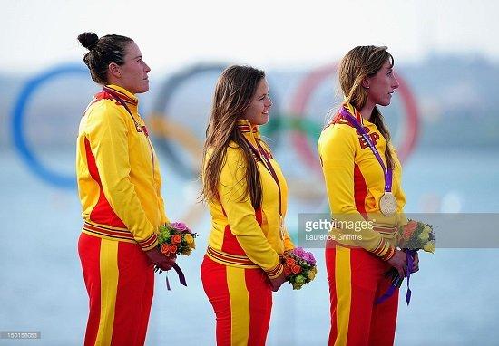 Podium olímpico con Sofía Toro, Ángela Pumariega y Támara Echegoyen en Londres 2012