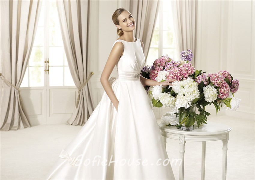 A Line Bateau Neckline V Back Satin Wedding Dress With