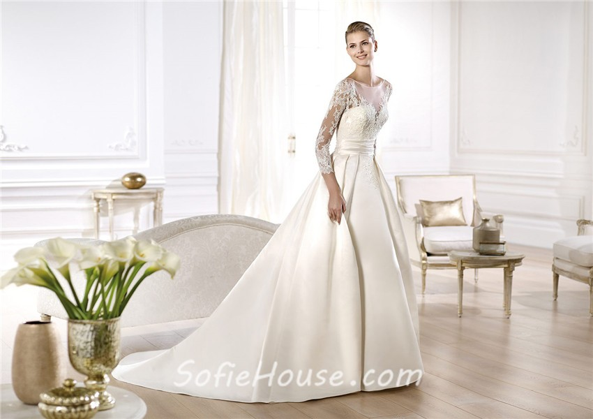 A Line Illusion Neckline Long Lace Sleeve Satin Wedding
