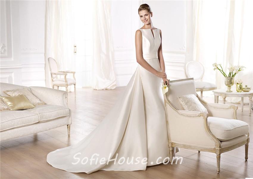 A Line Open Neckline V Back Satin Wedding Dress With Belt