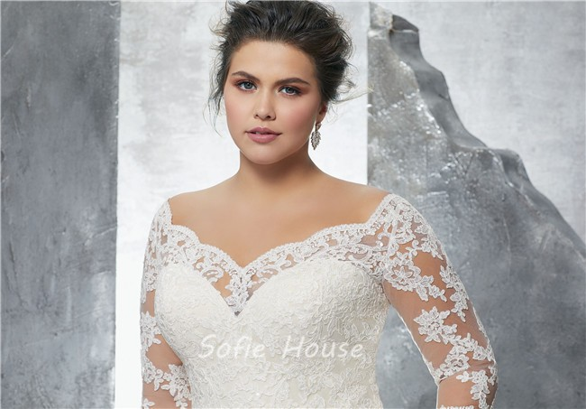 A Line Sweetheart Three Quarter Sleeve Tulle Lace Plus