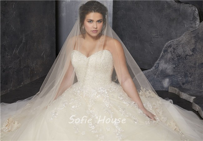 Ball Gown Sweetheart Ivory Satin Tulle Beaded Corset Plus