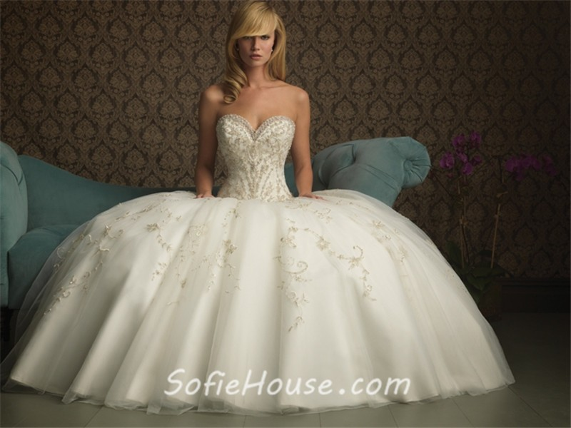 Ball Gown Sweetheart Puffy Tulle Wedding Dress With