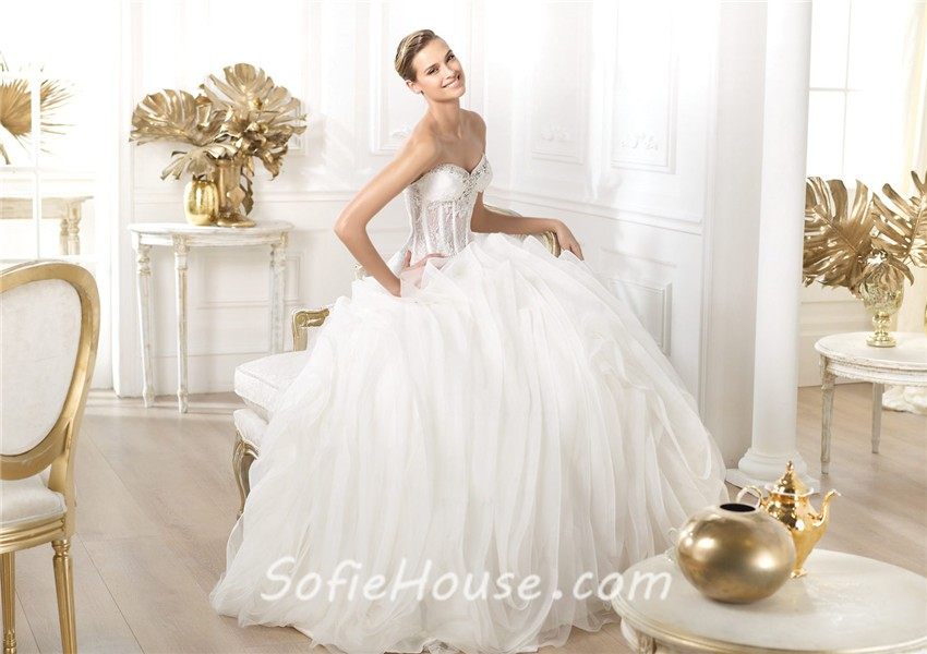 Ball Gown Sweetheart Sheer See Through Lace Organza Corset