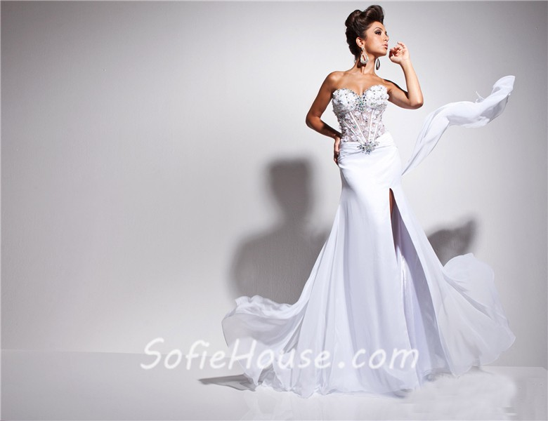 Designer Princess Sweetheart Long White Chiffon Corset