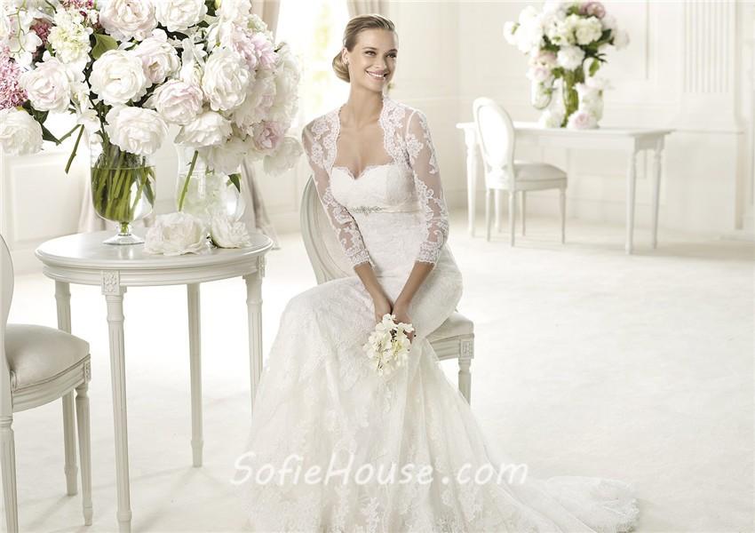 Fashion Mermaid Sweetheart Empire Waist Lace Wedding Dress