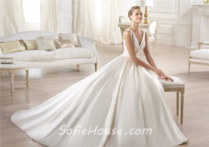 Glamorous Princess A Line V Neck Open Back Satin Wedding