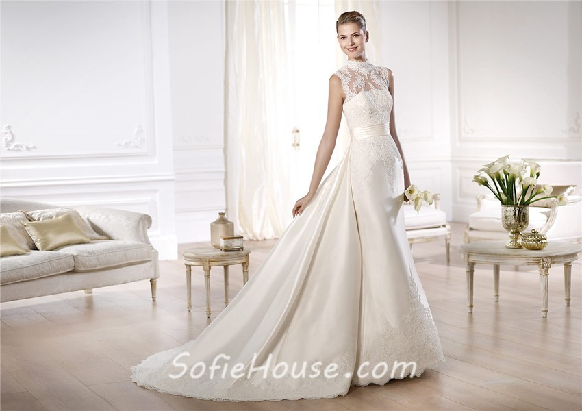 Modest A Line High Neck Satin Lace Wedding Dress With