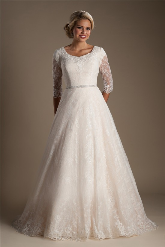 Modest A Line Scoop Neck Three Quarter Sleeve Lace Wedding
