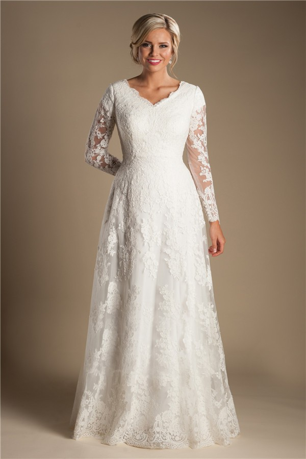 Modest A Line V Neck Long Sleeve Ivory Lace Wedding Dress