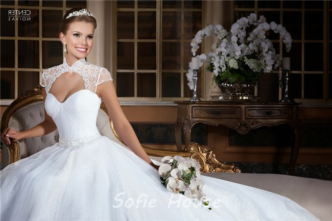 Princess A Line Open Front Cap Sleeve Tulle Beaded Wedding
