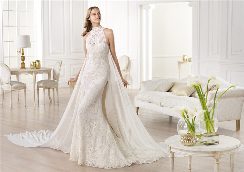 Romantic Mermaid High Neck Empire Lace Wedding Dress With