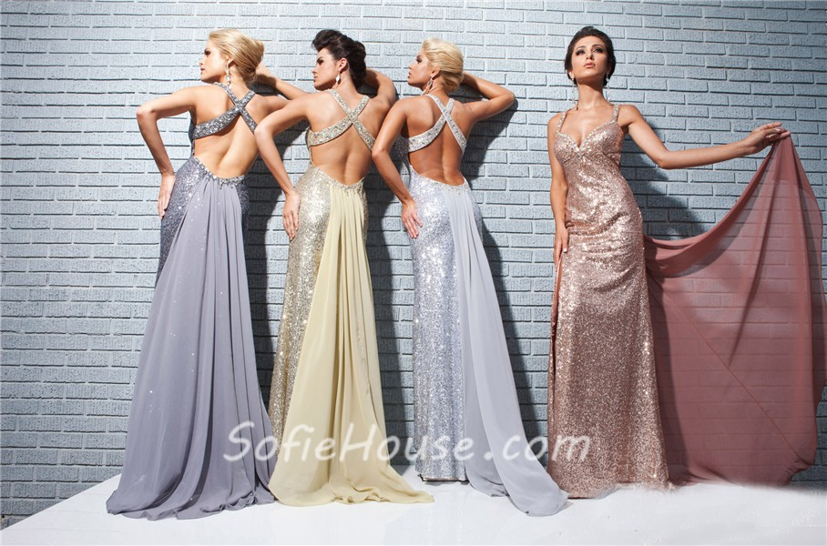 Sexy Sweetheart Straps Backless Long Champagne Sequin Prom