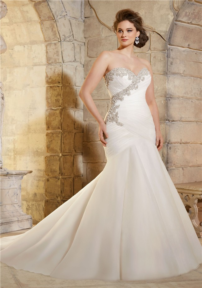 Trumpet Strapless Ruched Tulle Crystals Beaded Plus Size