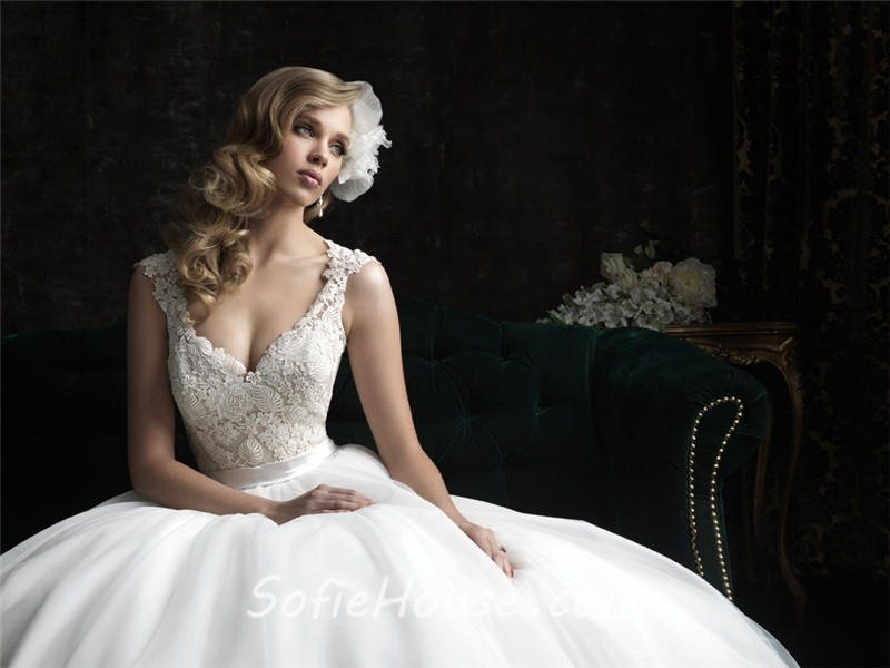 Princess Ball Gown V Neck Tulle Lace Wedding Dress With