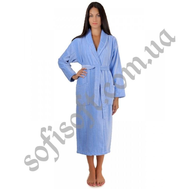 Халат махровый Sofi Soft хлопок шаль 3X голубой