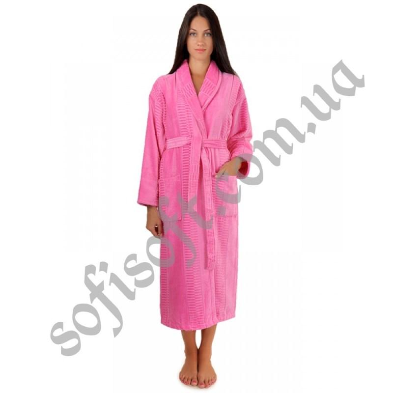 Халат махровый Sofi Soft хлопок шаль 3X розовый