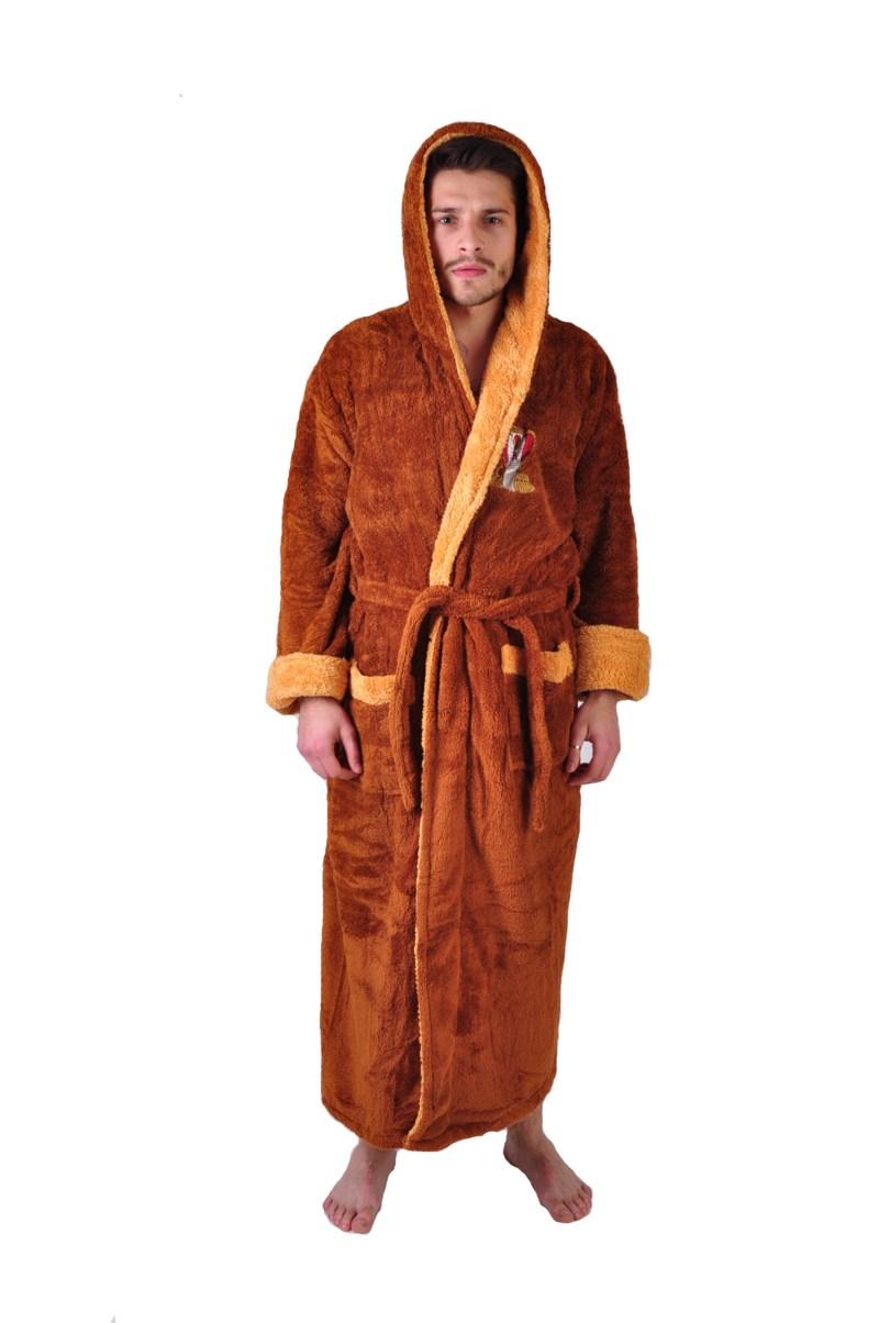 Халат махровый софт Кобра коричневый капюшон