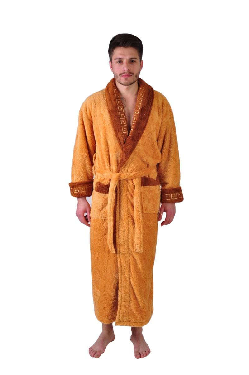 Халат махровый Yener софт шаль Версаче светло коричневый