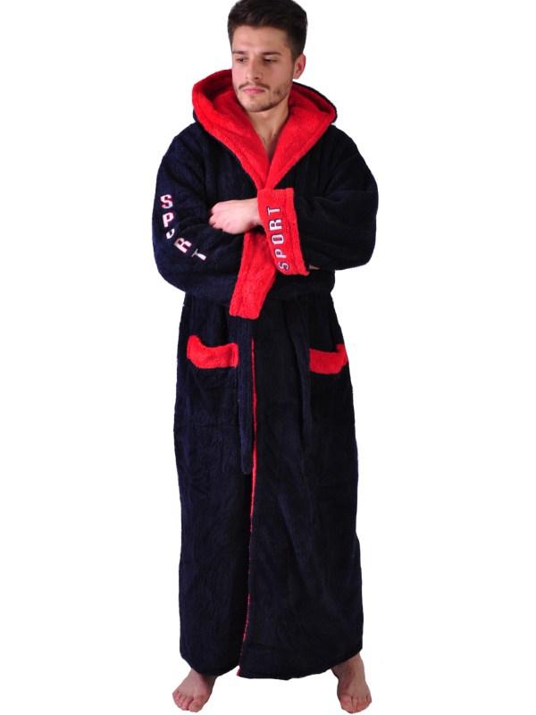 Халат махровый Yener софт Спорт красный капюшон