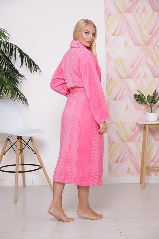 Халат махровый хлопок шаль Pink 10818