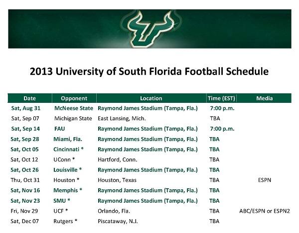 2013 USF Football Schedule | SoFloBulls.com |