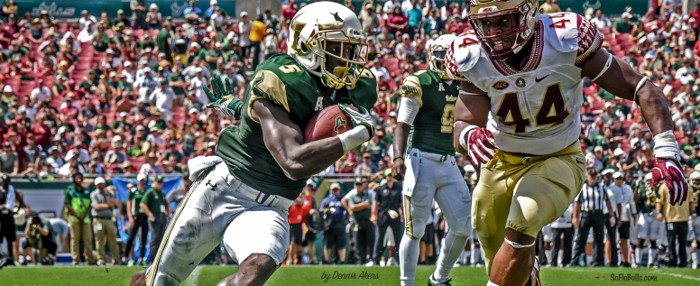 FSU vs USF 2016 - Marlon Mack with Demarcus Walker in hot pursuit Facebook Cover Image [Photo Credit Dennis Akers] (3568x1462)