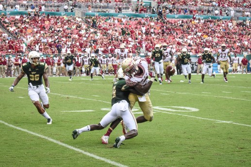 FSU vs USF 2016 103 - Ronnie Hoggins tackles Jesus 'Bobo' Wilson with Nate Godwin 2 by Dennis Akers (3240x2160)