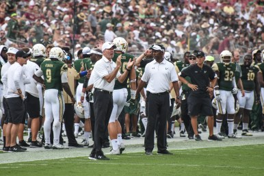 FSU vs USF 2016 104 - Willie Taggart with Mitchell Wilcox by Dennis Akers (4360x2907)