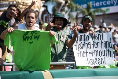 FSU vs USF 2016 20 - Student Section Sign 'Jimbo Went Fishing for Hand, Foot + Mouth Disease' by Dennis Akers (6016x4016)