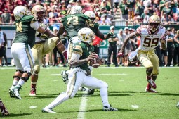 FSU vs USF 2016 77 - Quinton Flowers dodges Brian Burns by Dennis Akers (3881x2587)