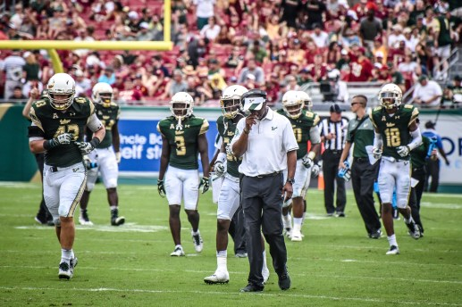 FSU vs USF 2016 98 - Willie Taggart with Auggie Sanchez Deatrick Nichols Jaymon Thomas by Dennis Akers (3957x2638)